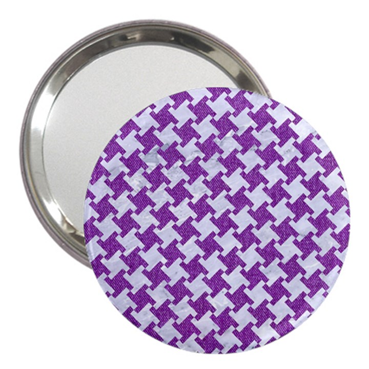HOUNDSTOOTH2 WHITE MARBLE & PURPLE DENIM 3  Handbag Mirrors