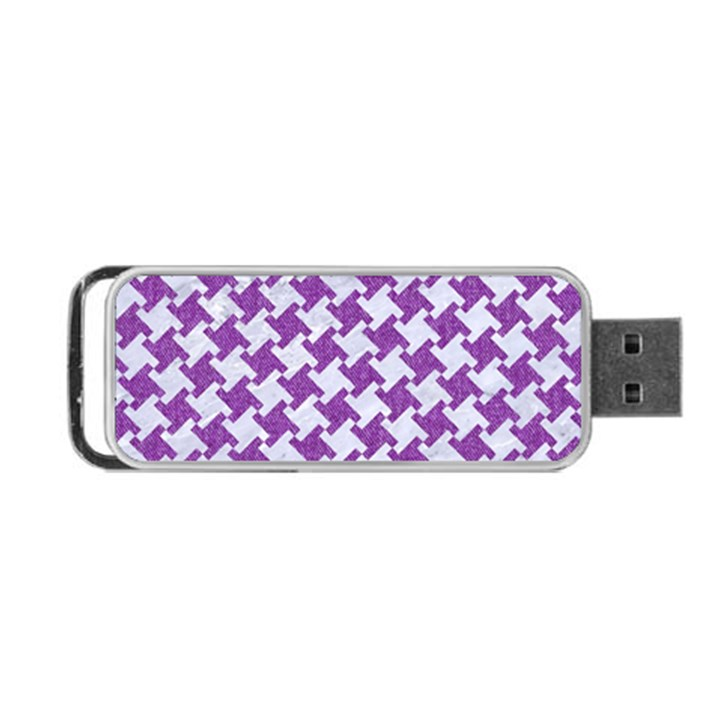 HOUNDSTOOTH2 WHITE MARBLE & PURPLE DENIM Portable USB Flash (One Side)