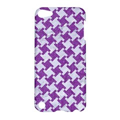 Houndstooth2 White Marble & Purple Denim Apple Ipod Touch 5 Hardshell Case