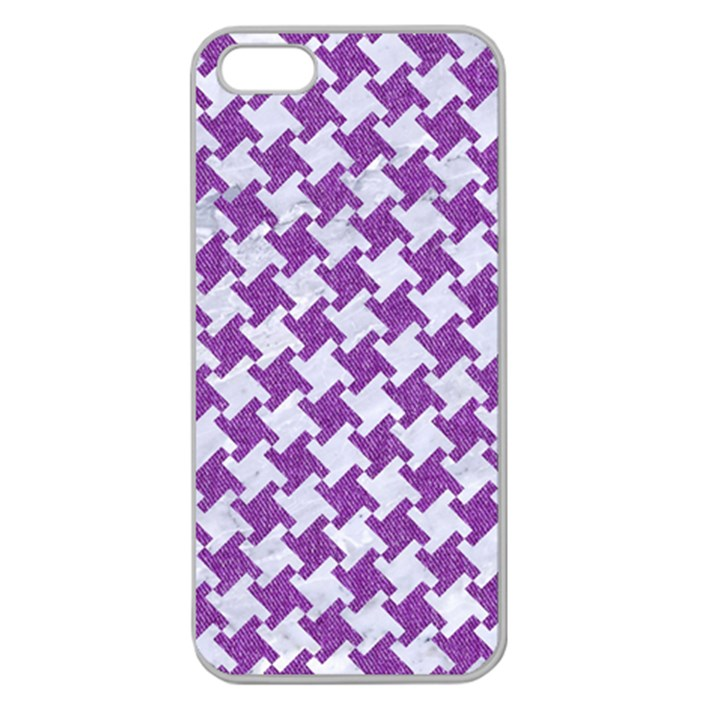 HOUNDSTOOTH2 WHITE MARBLE & PURPLE DENIM Apple Seamless iPhone 5 Case (Clear)