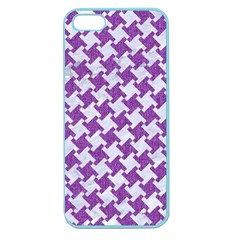 Houndstooth2 White Marble & Purple Denim Apple Seamless Iphone 5 Case (color)