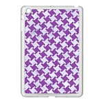 HOUNDSTOOTH2 WHITE MARBLE & PURPLE DENIM Apple iPad Mini Case (White) Front