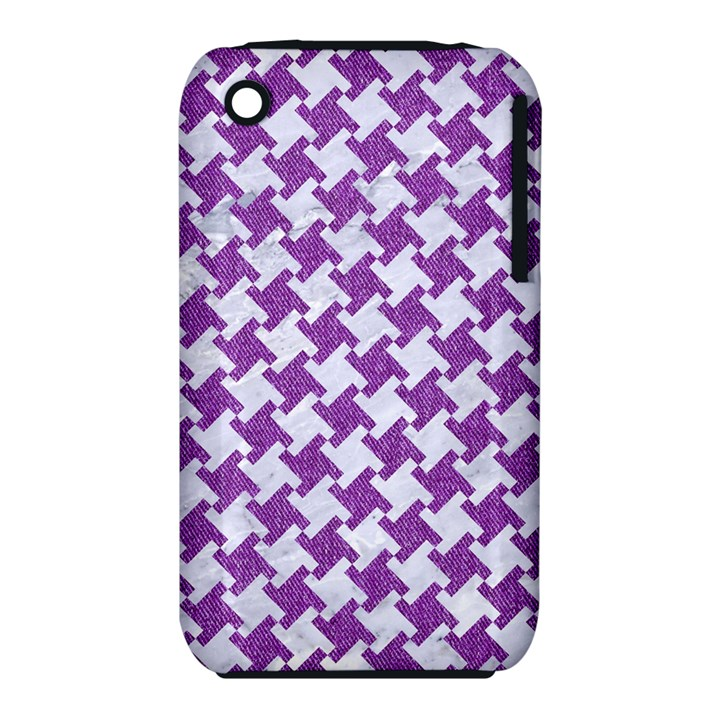 HOUNDSTOOTH2 WHITE MARBLE & PURPLE DENIM iPhone 3S/3GS