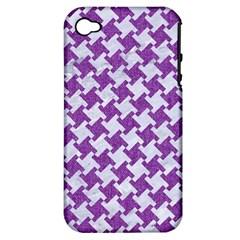 Houndstooth2 White Marble & Purple Denim Apple Iphone 4/4s Hardshell Case (pc+silicone)