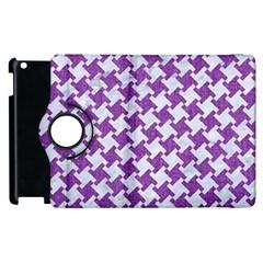 Houndstooth2 White Marble & Purple Denim Apple Ipad 2 Flip 360 Case by trendistuff