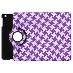 HOUNDSTOOTH2 WHITE MARBLE & PURPLE DENIM Apple iPad Mini Flip 360 Case Front