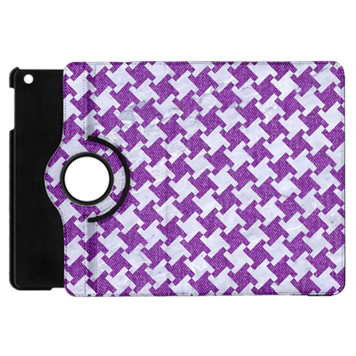 HOUNDSTOOTH2 WHITE MARBLE & PURPLE DENIM Apple iPad Mini Flip 360 Case