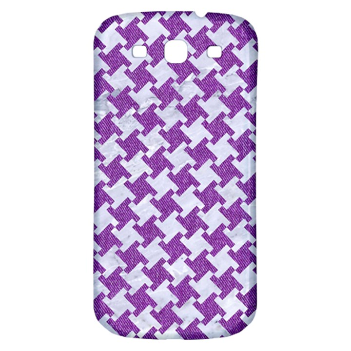 HOUNDSTOOTH2 WHITE MARBLE & PURPLE DENIM Samsung Galaxy S3 S III Classic Hardshell Back Case