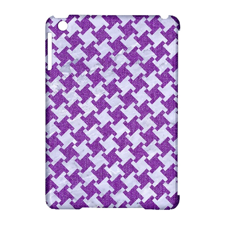 HOUNDSTOOTH2 WHITE MARBLE & PURPLE DENIM Apple iPad Mini Hardshell Case (Compatible with Smart Cover)