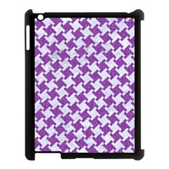 Houndstooth2 White Marble & Purple Denim Apple Ipad 3/4 Case (black)