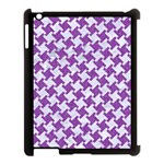 HOUNDSTOOTH2 WHITE MARBLE & PURPLE DENIM Apple iPad 3/4 Case (Black) Front