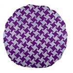 HOUNDSTOOTH2 WHITE MARBLE & PURPLE DENIM Large 18  Premium Round Cushions Front