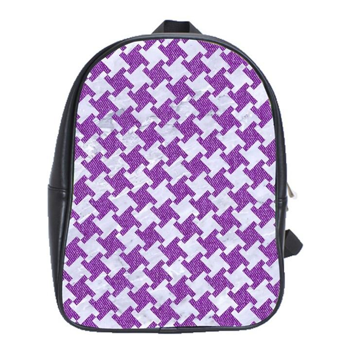 HOUNDSTOOTH2 WHITE MARBLE & PURPLE DENIM School Bag (XL)