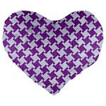 HOUNDSTOOTH2 WHITE MARBLE & PURPLE DENIM Large 19  Premium Heart Shape Cushions Front