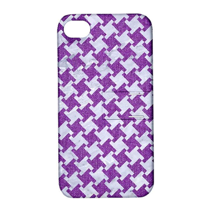 HOUNDSTOOTH2 WHITE MARBLE & PURPLE DENIM Apple iPhone 4/4S Hardshell Case with Stand