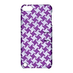 Houndstooth2 White Marble & Purple Denim Apple Ipod Touch 5 Hardshell Case With Stand