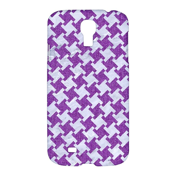 HOUNDSTOOTH2 WHITE MARBLE & PURPLE DENIM Samsung Galaxy S4 I9500/I9505 Hardshell Case