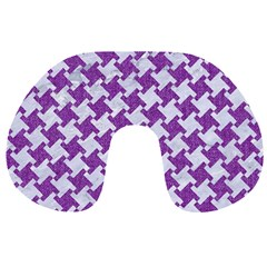 Houndstooth2 White Marble & Purple Denim Travel Neck Pillows