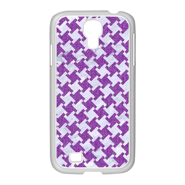 HOUNDSTOOTH2 WHITE MARBLE & PURPLE DENIM Samsung GALAXY S4 I9500/ I9505 Case (White)