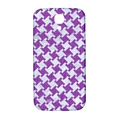 Houndstooth2 White Marble & Purple Denim Samsung Galaxy S4 I9500/i9505  Hardshell Back Case