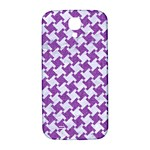 HOUNDSTOOTH2 WHITE MARBLE & PURPLE DENIM Samsung Galaxy S4 I9500/I9505  Hardshell Back Case Front