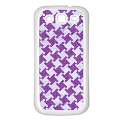 Houndstooth2 White Marble & Purple Denim Samsung Galaxy S3 Back Case (white)