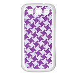 HOUNDSTOOTH2 WHITE MARBLE & PURPLE DENIM Samsung Galaxy S3 Back Case (White) Front