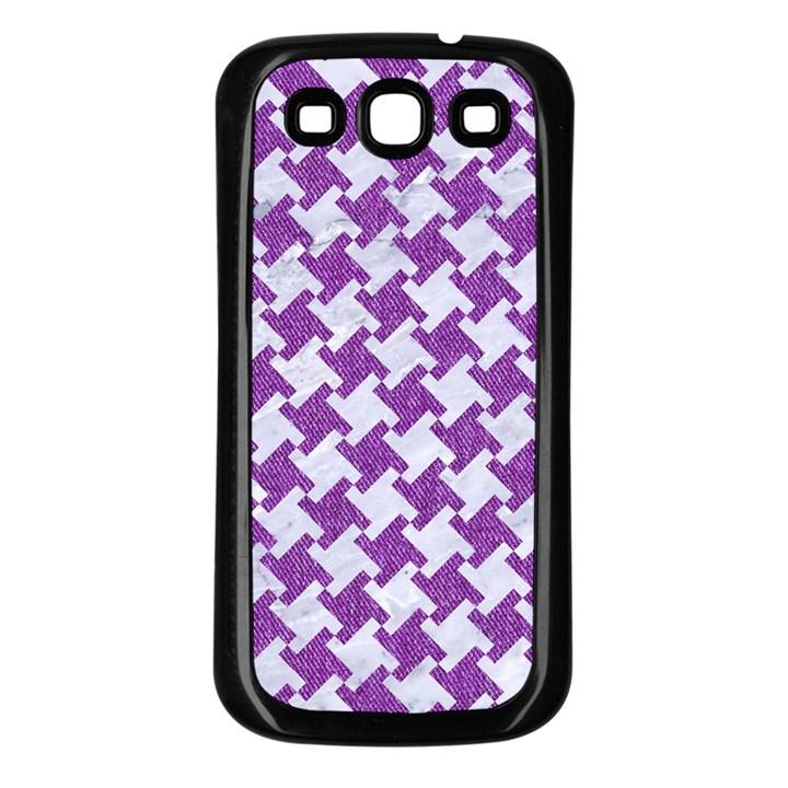 HOUNDSTOOTH2 WHITE MARBLE & PURPLE DENIM Samsung Galaxy S3 Back Case (Black)