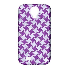 Houndstooth2 White Marble & Purple Denim Samsung Galaxy S4 Classic Hardshell Case (pc+silicone)