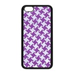 HOUNDSTOOTH2 WHITE MARBLE & PURPLE DENIM Apple iPhone 5C Seamless Case (Black) Front