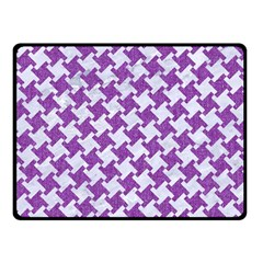 Houndstooth2 White Marble & Purple Denim Double Sided Fleece Blanket (small)
