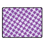 HOUNDSTOOTH2 WHITE MARBLE & PURPLE DENIM Double Sided Fleece Blanket (Small)  45 x34 Blanket Front