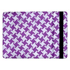 Houndstooth2 White Marble & Purple Denim Samsung Galaxy Tab Pro 12 2  Flip Case