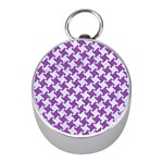 HOUNDSTOOTH2 WHITE MARBLE & PURPLE DENIM Mini Silver Compasses Front