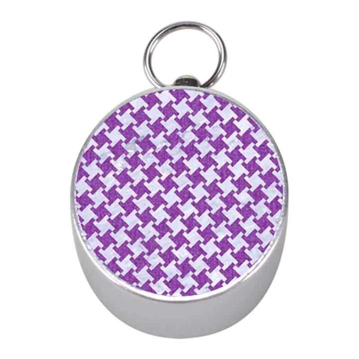 HOUNDSTOOTH2 WHITE MARBLE & PURPLE DENIM Mini Silver Compasses