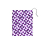 HOUNDSTOOTH2 WHITE MARBLE & PURPLE DENIM Drawstring Pouches (Small)  Front