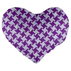 Houndstooth2 White Marble & Purple Denim Large 19  Premium Flano Heart Shape Cushions