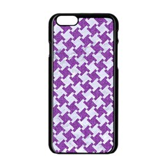 Houndstooth2 White Marble & Purple Denim Apple Iphone 6/6s Black Enamel Case