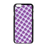 HOUNDSTOOTH2 WHITE MARBLE & PURPLE DENIM Apple iPhone 6/6S Black Enamel Case Front