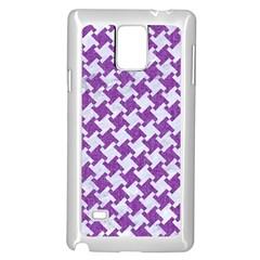 Houndstooth2 White Marble & Purple Denim Samsung Galaxy Note 4 Case (white)