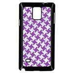 HOUNDSTOOTH2 WHITE MARBLE & PURPLE DENIM Samsung Galaxy Note 4 Case (Black) Front