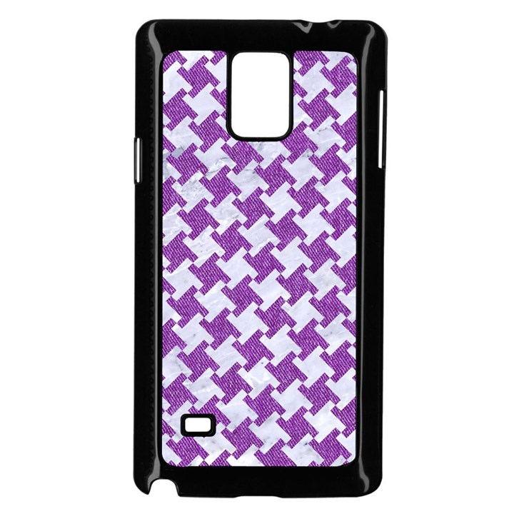 HOUNDSTOOTH2 WHITE MARBLE & PURPLE DENIM Samsung Galaxy Note 4 Case (Black)