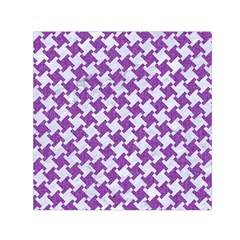 Houndstooth2 White Marble & Purple Denim Small Satin Scarf (square)