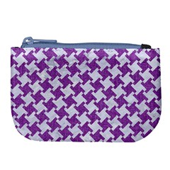 Houndstooth2 White Marble & Purple Denim Large Coin Purse