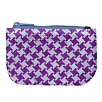 HOUNDSTOOTH2 WHITE MARBLE & PURPLE DENIM Large Coin Purse Front