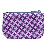 HOUNDSTOOTH2 WHITE MARBLE & PURPLE DENIM Large Coin Purse Back
