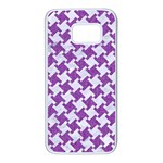 HOUNDSTOOTH2 WHITE MARBLE & PURPLE DENIM Samsung Galaxy S7 White Seamless Case Front