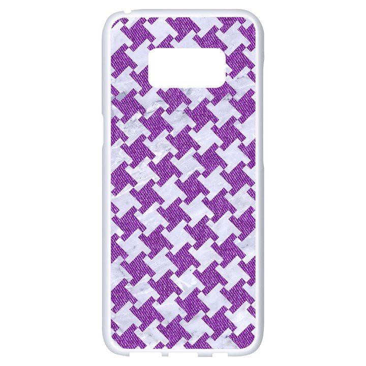 HOUNDSTOOTH2 WHITE MARBLE & PURPLE DENIM Samsung Galaxy S8 White Seamless Case