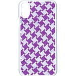 HOUNDSTOOTH2 WHITE MARBLE & PURPLE DENIM Apple iPhone X Seamless Case (White) Front