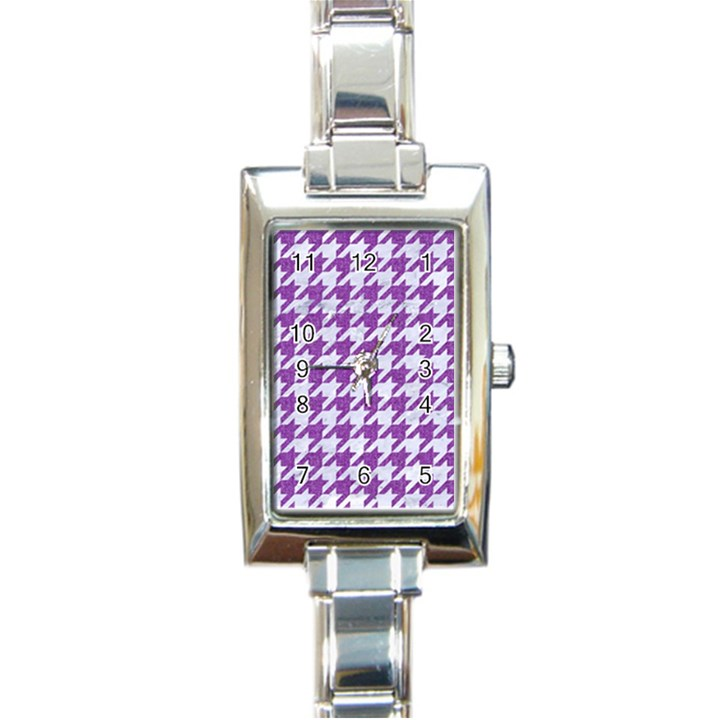 HOUNDSTOOTH1 WHITE MARBLE & PURPLE DENIM Rectangle Italian Charm Watch